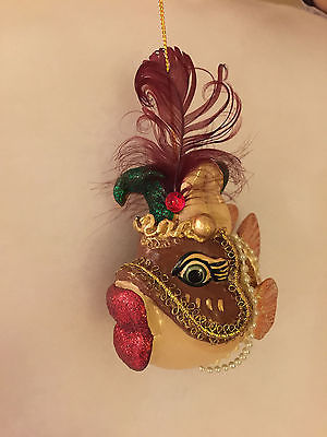Katherine's Collection Kissing Fish Ornament Mardi Gras Masquerade Jester
