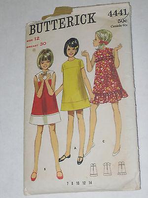 VINTAGE GIRLS DRESS PATTERN 1960'S SIZE 12 BUTTERICK 4441