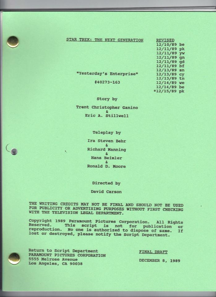 STAR TREK: THE NEXT GENERATION script