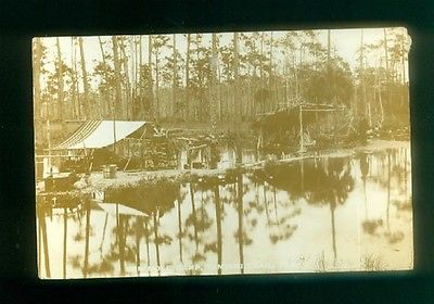 1932 Seminole Indian Camp Rare Photographic  Postcard Tamiami Trail Florida