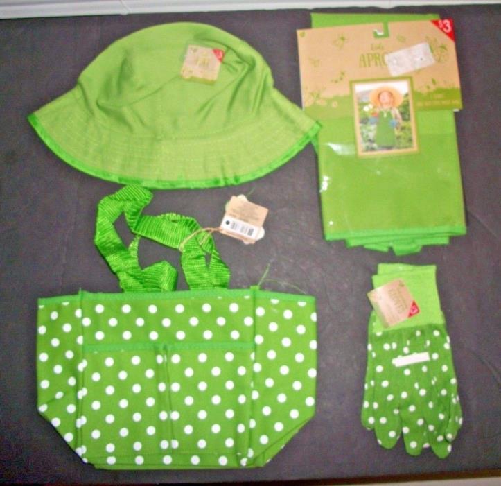 Kids Gardening Set APRON-HAT-TOTE BAG & GLOVES (Green Polka Dot)  NEW 4PC Set**