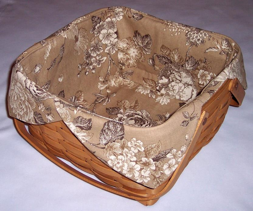 Cake Basket Liner Fits Longaberger, Cocoa Floral (Basket not Included)