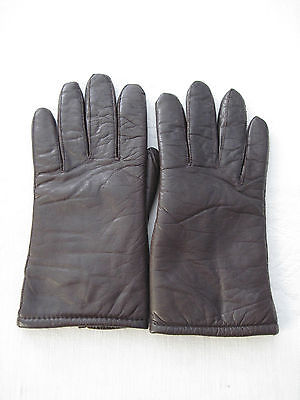 LADIES BROWN LEATHER GLOVES-7(S)-SOFT KNIT FOAM LINING-EXCELLENT GENTLY WORN-