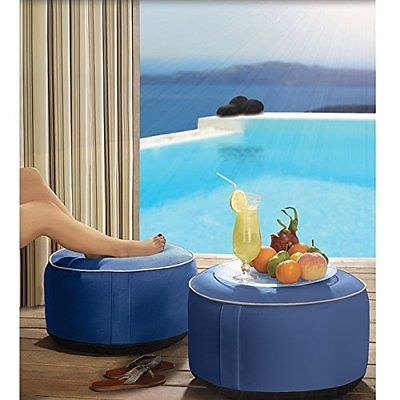 Round Foot Stool Ottoman Rest Blue Seat Table Indoor Outdoor Poufs Lounge Pillow