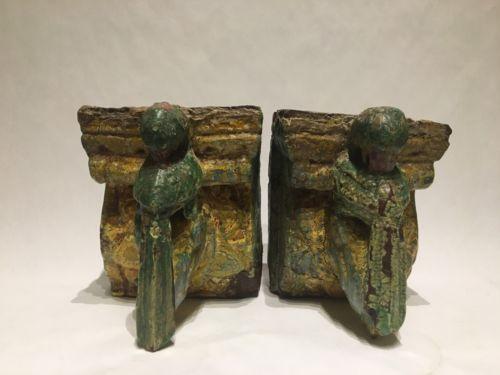 Antique Wood Carved Parakeet Corbel Painted Pair