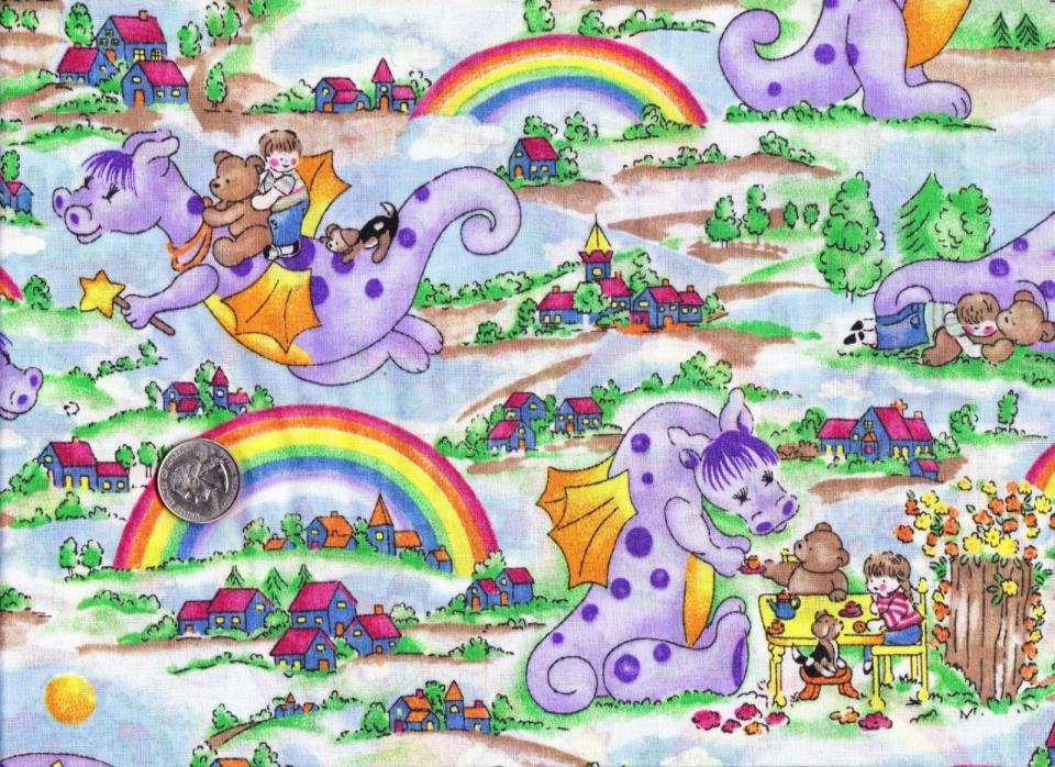 Cotton Fabric Purple Dragons and Teddy Bears
