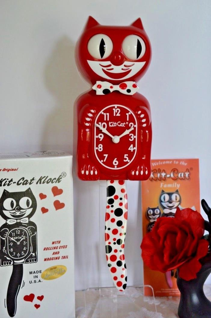 Kit Cat Clock Designer Red With Dots Made In USA Ship Priority in 24 Hrs.