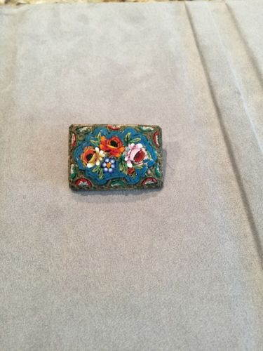 Vintage Square Handcrafted Mosaic Pin With Flowers
