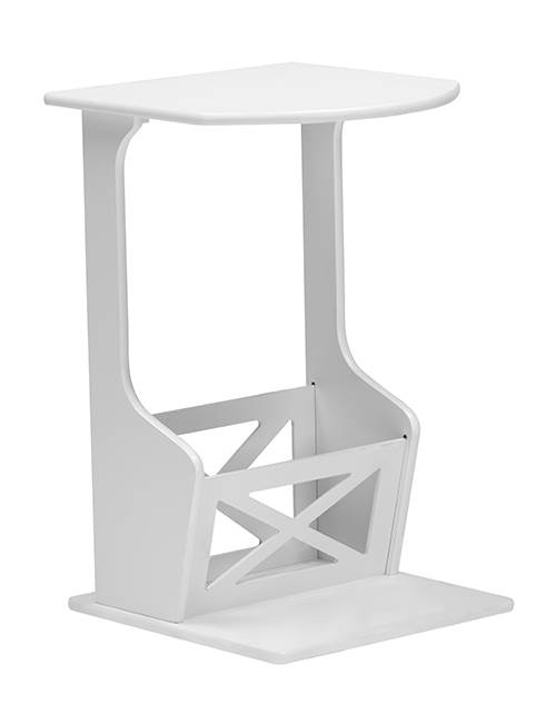 Agnola Sofa Side Magazine Storage Table in White [ID 3401927]