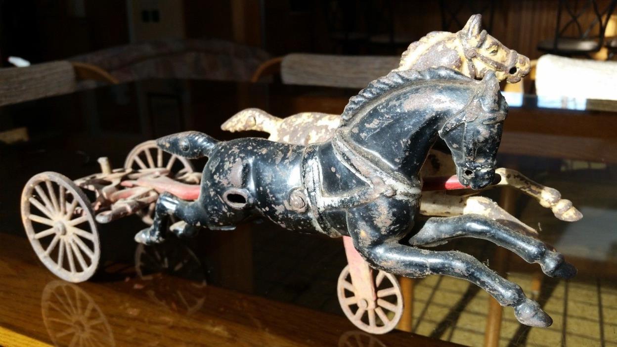 Porcelain Black & White horse drawn cast iron Fire Truck