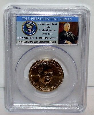 2014D The Presidential Series Franklin D Roosevelt $1 Coin PCGS MS66 Position B