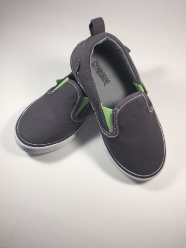 SZ 7 Gymboree Gray Canvas Slip On Shoes Loafers Dockers Toddler Boy New NWT