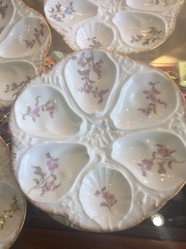 Antiques Set Of 8 L Sazerat Limoges Oyster Plates