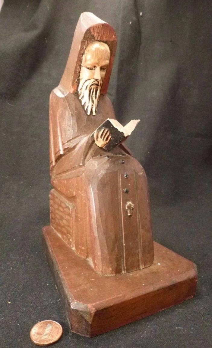 Vintage Wood Carved GOTHIC Statue Monk Druid woodcarving Rosary bible 8