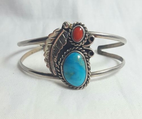 Sterling Silver, Turquoise, & Coral Cuff Bracelet