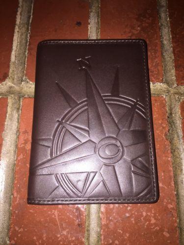 NEW Coach Brown Soft Leather Compass Passport Travel Case Holder