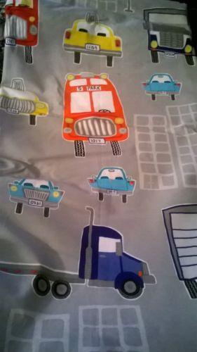 NEW Pottery Barn Kids AUTOS Full Queen DUVET car truck taxi bus Grey