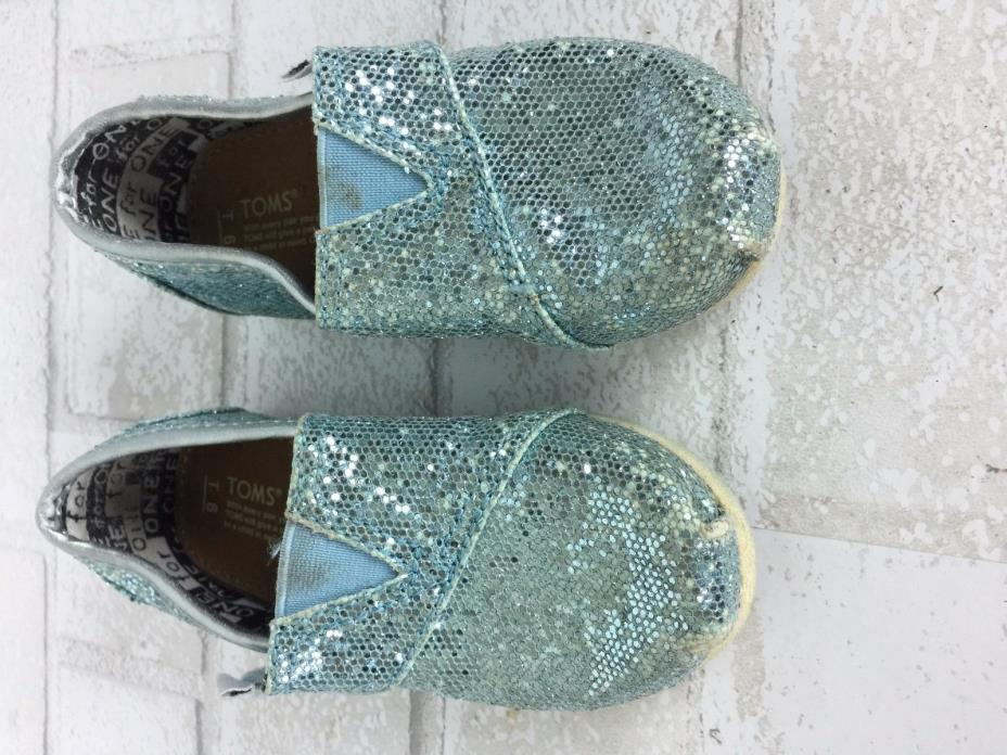 Toms shoes Toddlers size 6 light blue sparkle glitter slip on