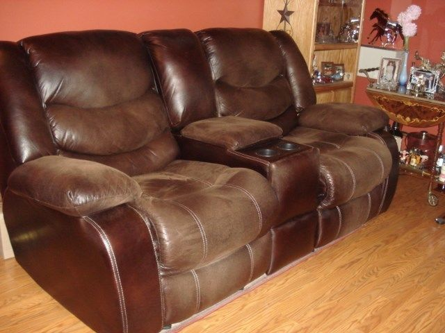 sofa recliner used,  bounded leather, dark brown