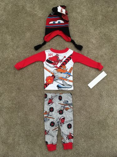 New 5pc Disney Planes Pajama Pj Cars Hat Mittens Sleep Set Lot Baby Boy 12 M