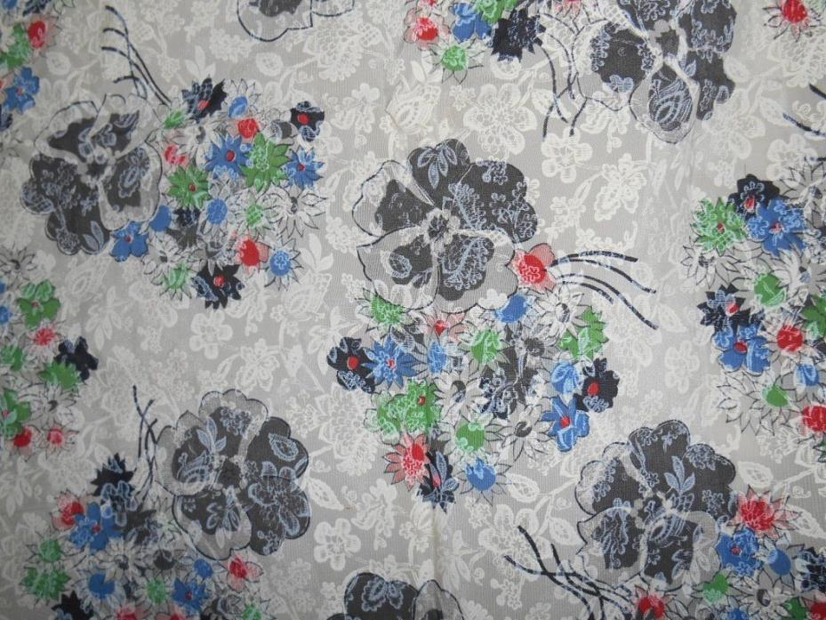 Unused vtg taffeta -y fabric colorful floral w/ white lace all over 37