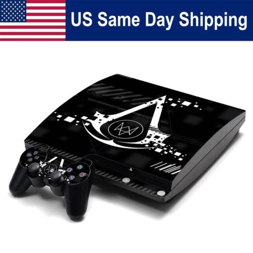 Sticker Art Decal for Sony PlayStation 3 PS3 SLIM Console Controllers Watch Dogs