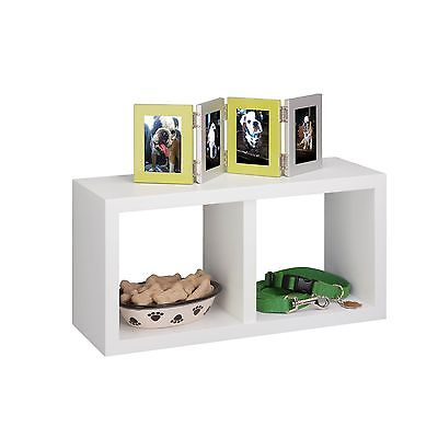 Honey Can Do White Double Cube Wall Shelf