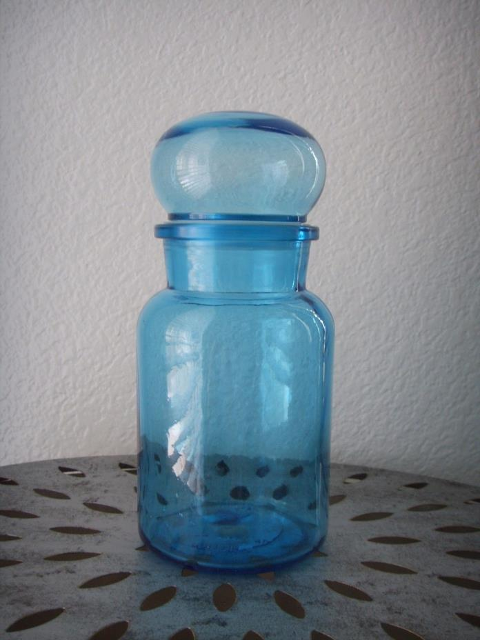 Vintage Mid Century Modern Aqua Teal Blue Glass Jar Bottle w Lid Seal 9