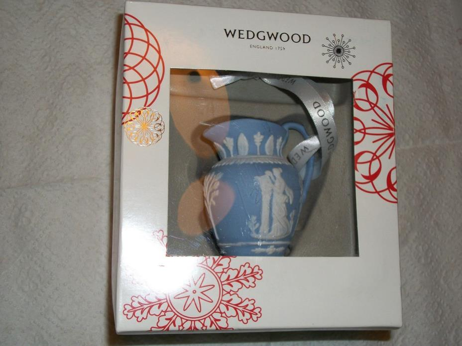Small Blue Jasperware Wedgwood Christmas Ornament Pitcher Iconic Collection