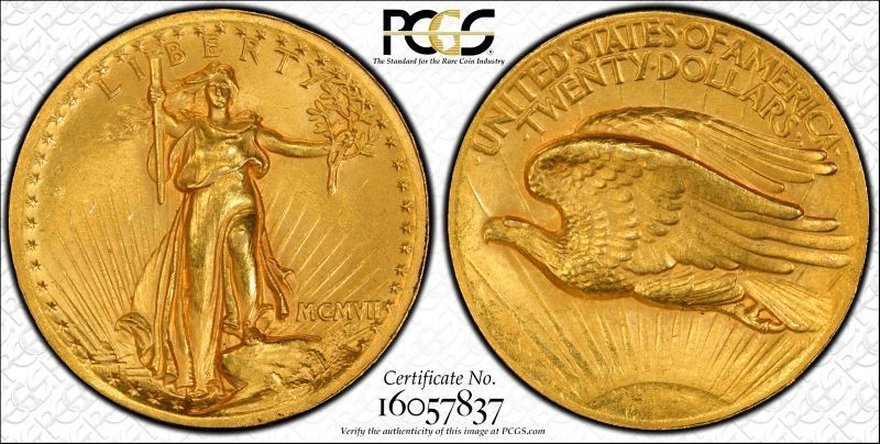 1907 $20 High Relief-Wire Edge ~ St Gaudens Double Eagle PCGS Secure AU 58 CAC