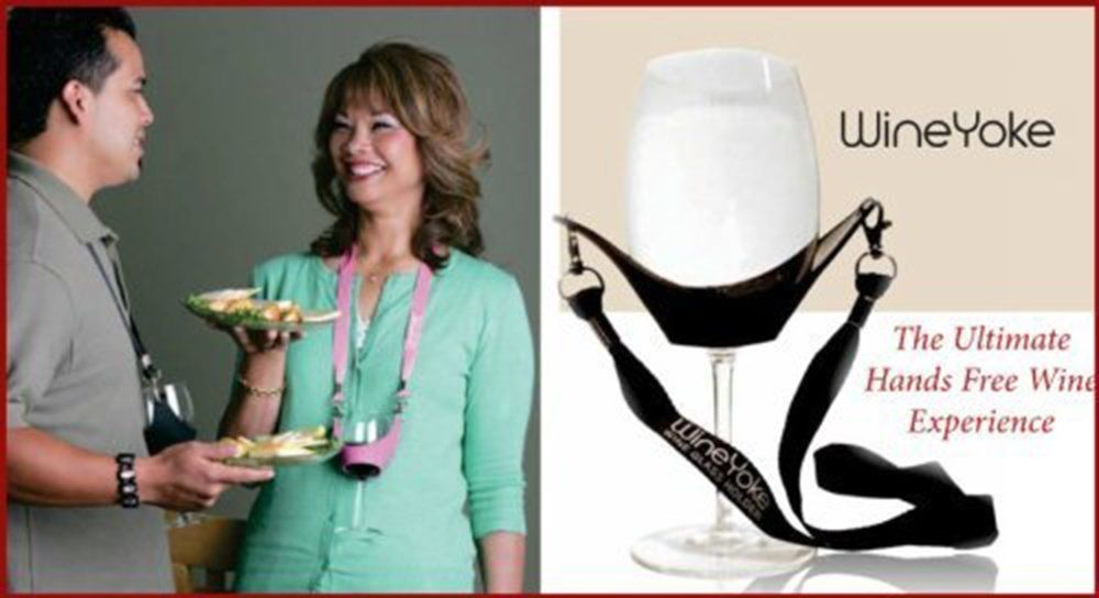 Wine Yoke Lanyard Wine Glass Holder, Wine Party Hands Free Wine Glass Necklace