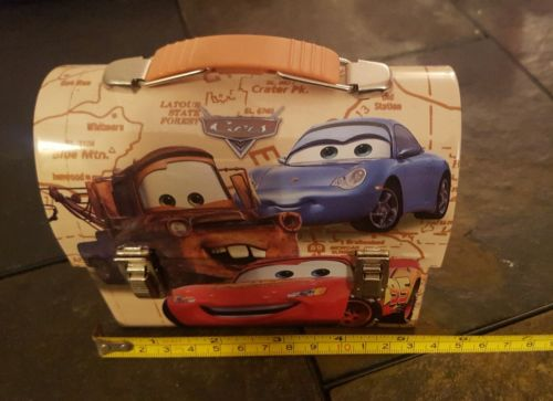 DISNEY PIXAR CARS TIN TOY TRINKET HOLDER SMALL COLLECTIBLE USED VERY GOOD COND.