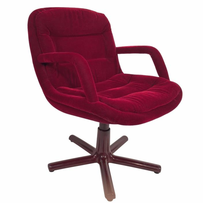 Red Mohair Swivel Chair - Modern, Executive, Burgundy