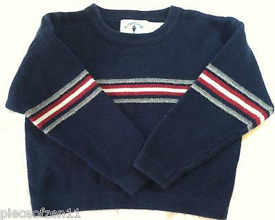 Kitestrings Sweater Boutique Boys 3T Navy Blue Red White Gray Stripe EUC