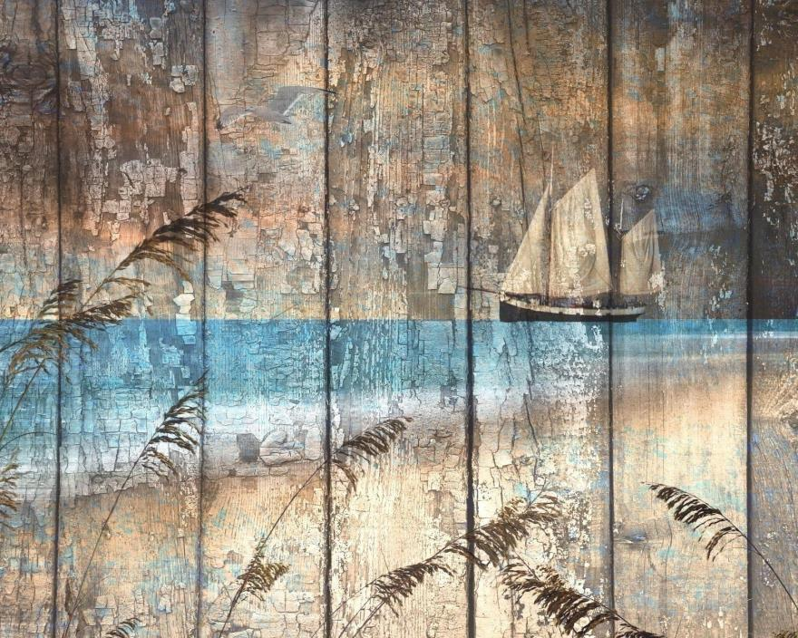 Rustic Modern Sailboat Coastal Beach Home Brown Blue Wall Art Decor Picture
