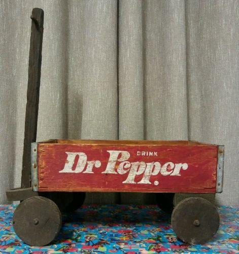 Dr. Pepper Soda Wagon Vintage Pop Bottle Crate Carrier Tool Old Wooden Red