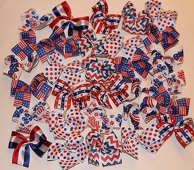 Dog Grooming Bows 30 July 4th  Patriotic Dog Bows Children's Bows Yorkie USA NEW