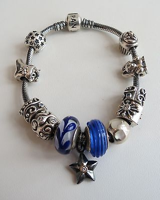 Early VTG fine 12 charm original sterling Pandora Charm bracelet