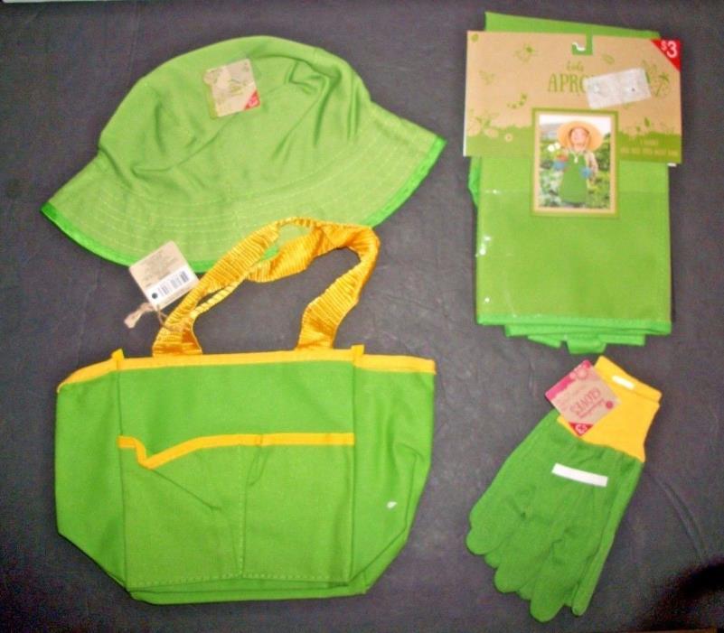 Kids Gardening Set APRON-HAT-TOTE BAG & GLOVES  ( Green ) **BRAND  NEW 4PC Set**