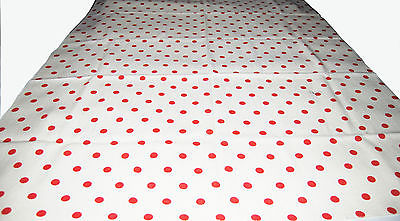 2 1/2 yds Vintage Cream Linen with Red Polka Dots Fabric