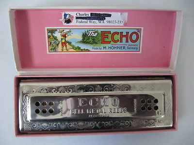 Vintage HOHNER Harmonica, ECHO. Made by M.HOHNER, Germany.