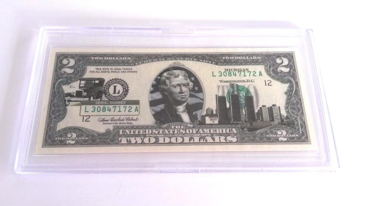 Michigan  $2 Two Dollar Bill Colorized State Landmark Uncirculated Authentic