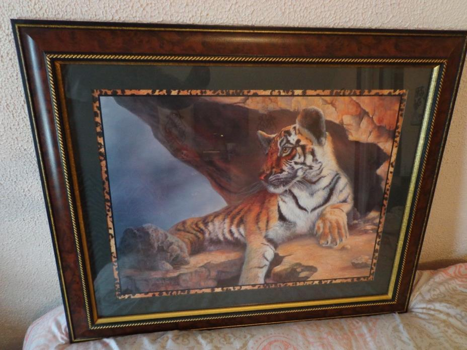Homco TIGER PICTURE framed Home Interior Safari ~BEAUTIFUL~