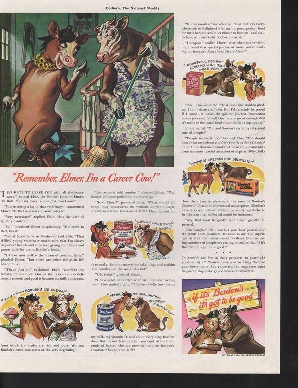 1940 BORDEN DAIRY COW MILK BULL ICE CREAM CAN HOUSE AD 14110