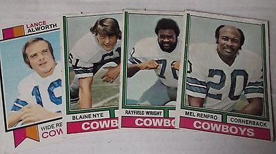 1973/74 Topps Dallas Cowboys Alworth/Nye/Wright/Renfro 4 card set