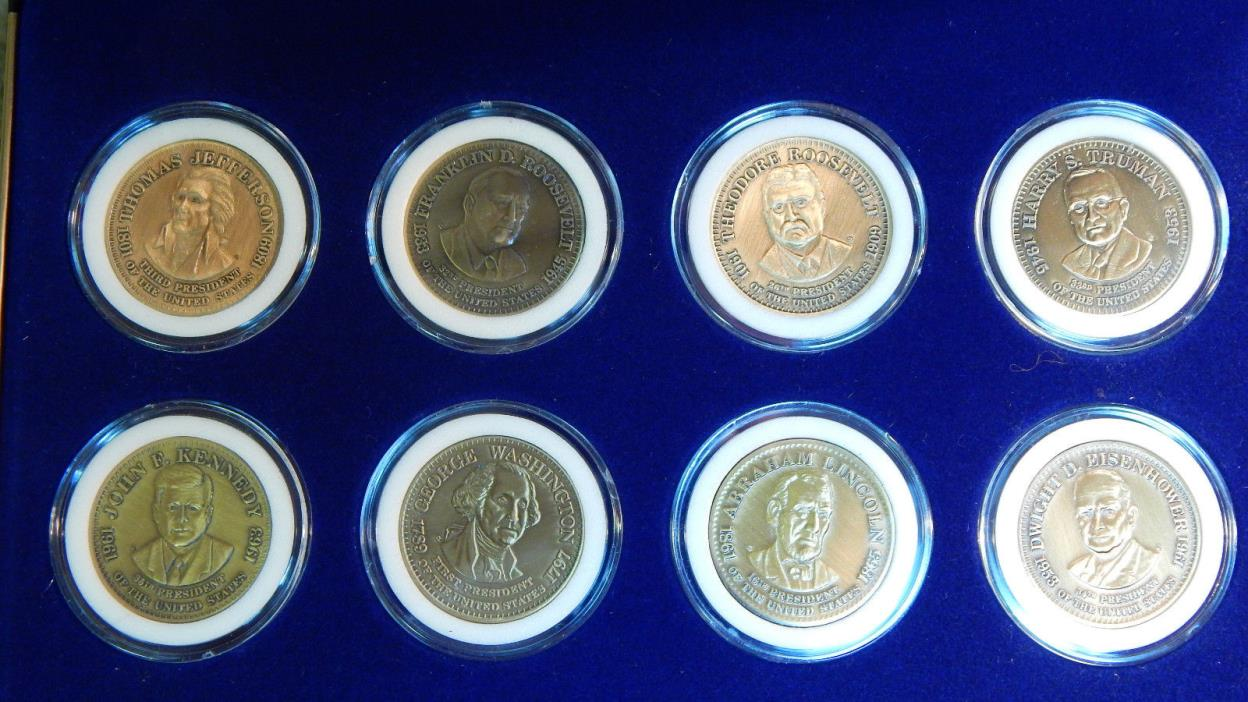 1992 Shell Oil Presidential Coin Set 8 Bronze Art Medals in Presentation Case