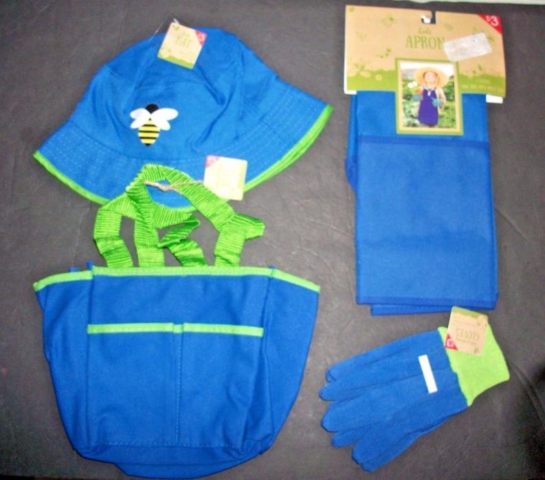 Kids Gardening Set APRON-HAT-TOTE BAG & GLOVES  ( Blue ) **BRAND  NEW 4PC Set**