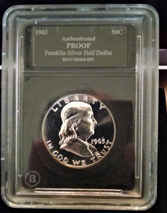 Last Franklin Silver Half Dollar Proof 1963 w/Presentation Box and Certificate