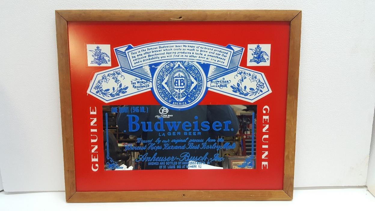 Vintage Budweiser Lager Beer mirror carnival glass