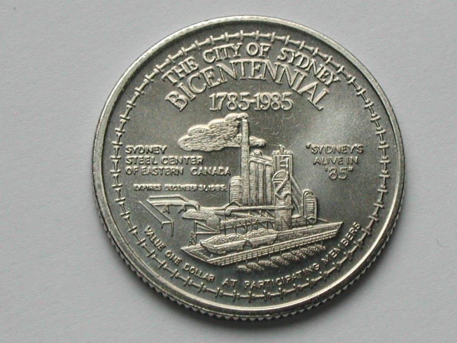 Sydney Cape Breton CANADA 1785-1985 Trade DOLLAR Token Coal Mining & Steel Mill